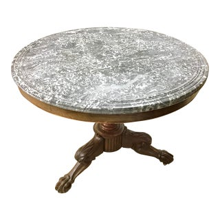 19th Century French Marble Top Center Table For Sale