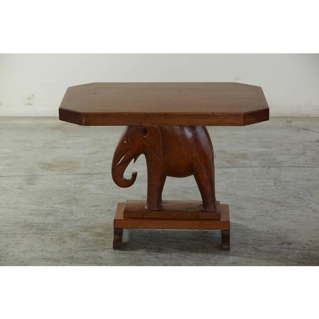 Rare Mahogany Table with Carved Elephant Base with Roosevelt History For Sale - Image 4 of 7