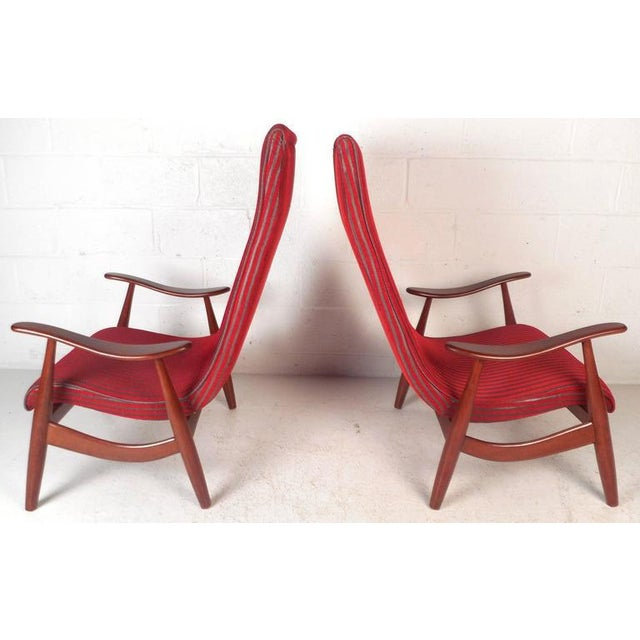Mid-Century Modern High Back Walnut Lounge Chairs - A Pair For Sale - Image 4 of 9