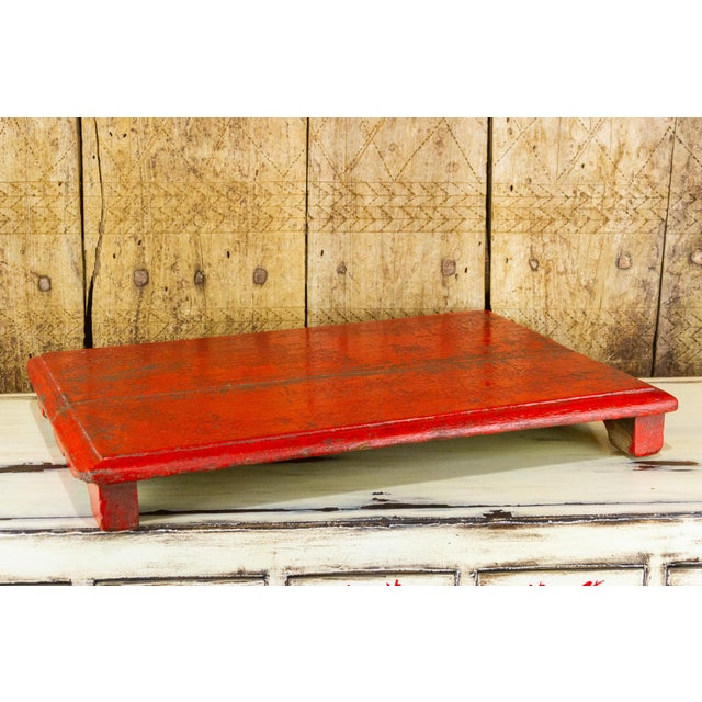 Traditional Rasila Red Wooden Bajot Table For Sale - Image 3 of 7