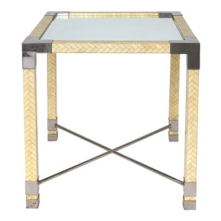 Karl Springer Style Tessellate Bone & Chrome Game Table For Sale
