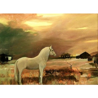 """""""White Horse Listening"""" Contemporary Painting For Sale"""