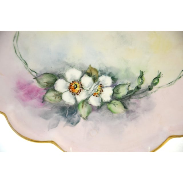 Large antique Limoges tray featuring romantic hand-painted wild white roses on a soft pink, lavender, yellow and blue...