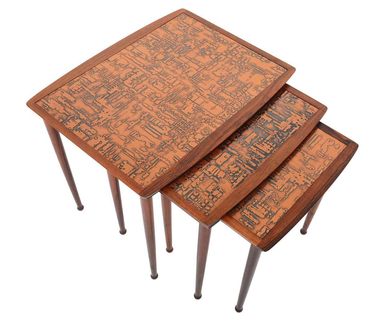 Møbel intarsia rosewood copper model 22 nesting tables s 3 chairish