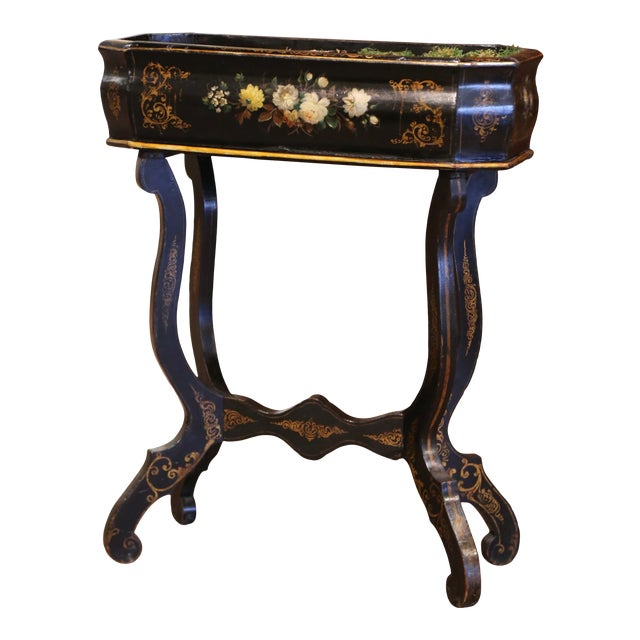 19th Century French Napoleon III Painted Plant Stand With Floral Motifs For Sale
