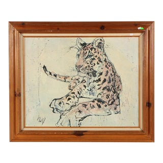 Lithograph on Canvas of a Reclining Leopard After Fritz Rudolf Hug