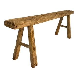 Antique Rustic Long Elm Bench