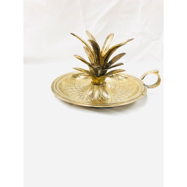 1970s Mid Century Brass Pineapple Candle Holder For Sale - Image 5 of 5