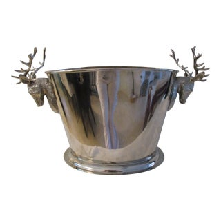 1970s English Traditional Silver Double Stag Head Wine Chiller For Sale