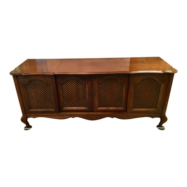 Credenza With Built-In Record Player & Stereo For Sale