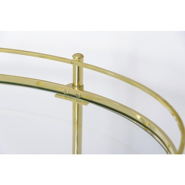 Contemporary Brass Three Tier Bar/Etagere Midcentury Signed Maxwell-Phillips Oval For Sale - Image 3 of 12