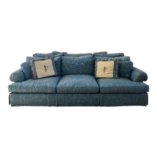 Traditional Baker Sofa With Brunschwig and Fils Damask For Sale