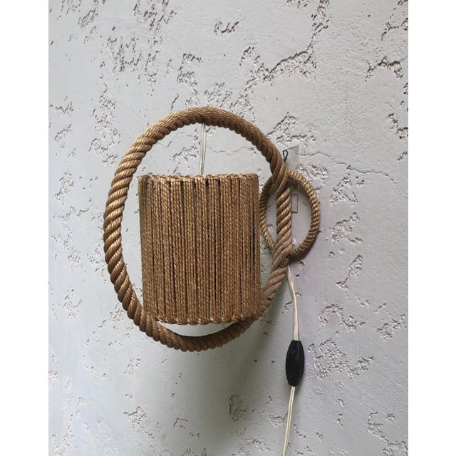 Adrien Audoux and Frida Minet Rope Sconce Audoux Minet, Circa 1960 For Sale - Image 4 of 6