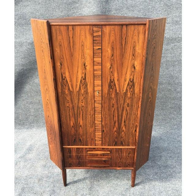 Danish Modern Rosewood Corner Cabinet - Image 4 of 6