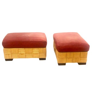 1980s Vintage John Hutton for Donghia Pair of Wicker Ottomans- A Pair For Sale