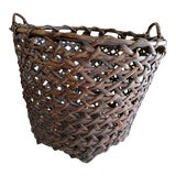 Image of Large Boho Chic Rustic Wood Basket For Sale