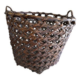 Large Boho Chic Rustic Wood Basket For Sale