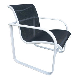 1980s Richard Frinier for Brown Jordan Quantum Dining Extruded Aluminum Arm Chair For Sale