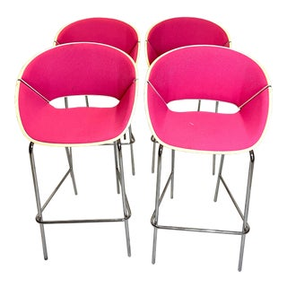 Set of 4 Heavy Duty Chic Pink Fabric Bar Counter Stools Wood Back For Sale