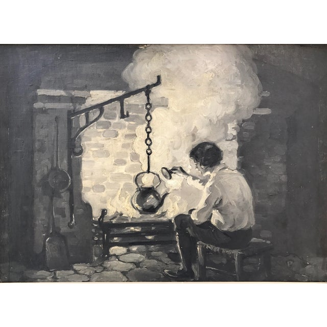 """A vintage c.1930 American illustration oil painting in a grisaille """"shades of black and white"""". A Wonderful depiction of a..."""
