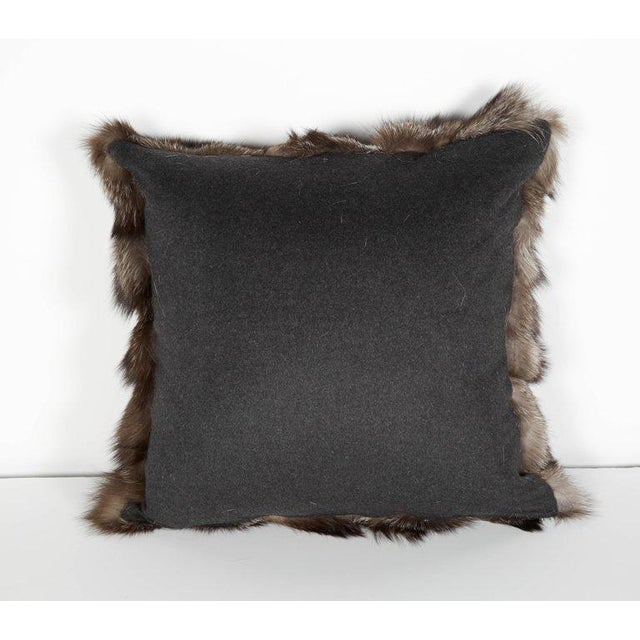 Genuine Fox Fur Luxury Throw Pillows in Variant Hues of Gray For Sale - Image 4 of 6
