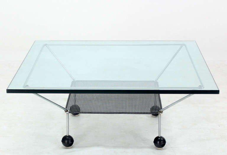 HighEnd MidCentury Modern Square GlassTop Coffee Table on Atomic