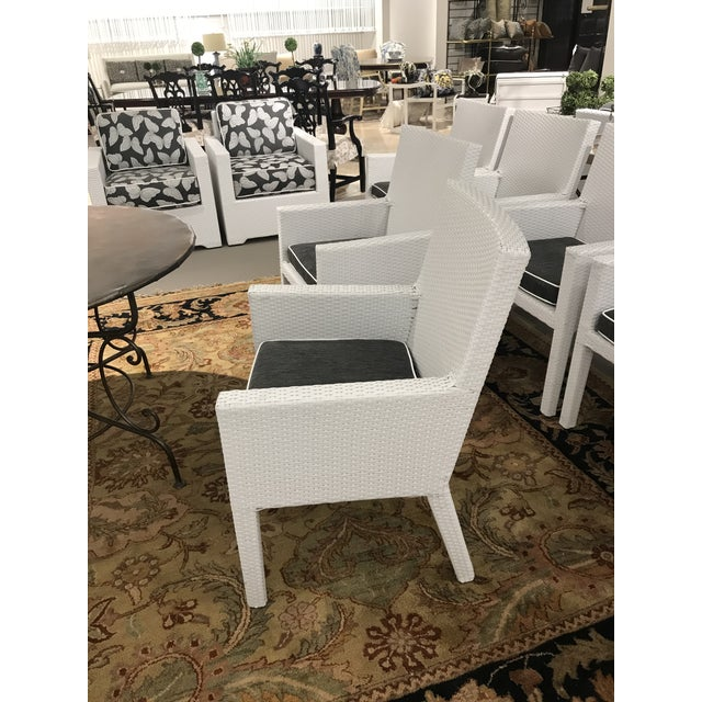 Transitional Arm Frontgate Wicker Dining Chairs - Set of 6 For Sale - Image 3 of 9