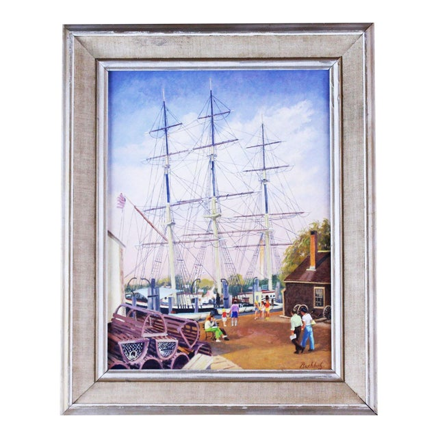 """20th Century Nautical Painting, """"Masts at Mystic"""" by Frederick Buchholz For Sale"""