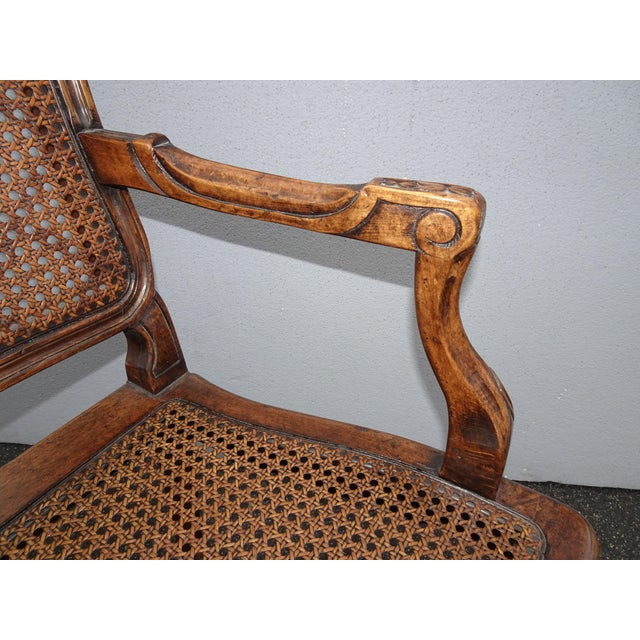 Vintage Martin of London French Country Brown Ornately Carved Cane Settee For Sale - Image 10 of 13