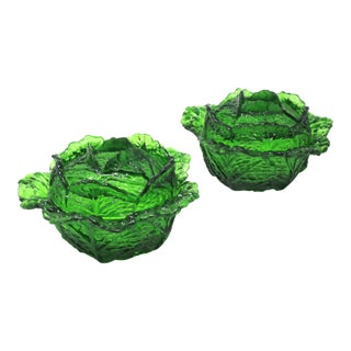 Vintage Glass Cabbage Lidded Bowls - Vegetable Tableware Cabbage Ware - a Pair For Sale