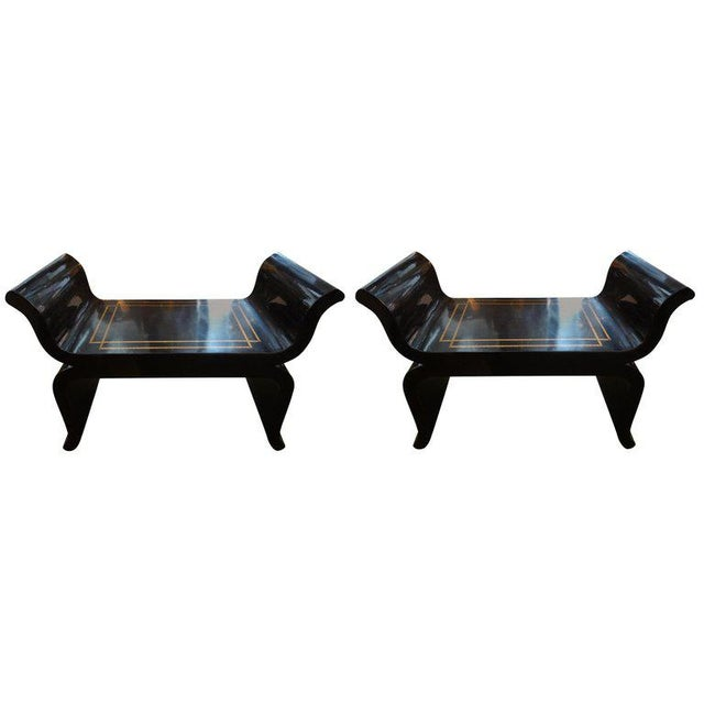 1960's Vintage James Mont Style Hollywood Regency Black Lacquered Benches- A Pair For Sale - Image 9 of 10