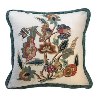 Jacobean Design Embroidered Pillow For Sale