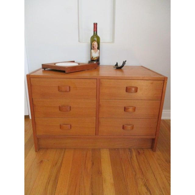 Mid Century Modern Danish Teak Domino Mobler Danish Modern Teak Dresser Nightstand Small Cabinet Jewelry Cabinet - Image 10 of 11