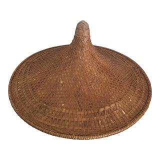 Antique Rattan Rickshaw Hat For Sale