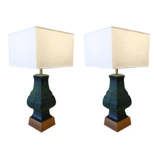 Bronze Table Lamps in the Manner of James Mont - A Pair For Sale