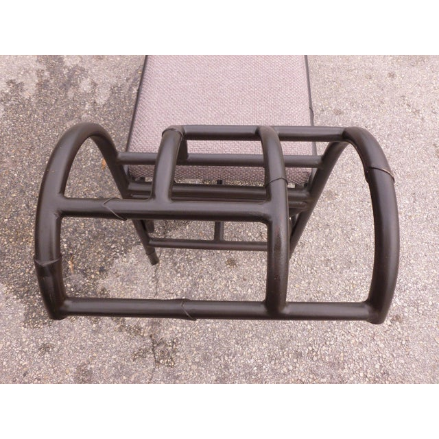 Postmodern black enamel Chinese Chippendale metal bench unrestored sold as found in good original condition showing normal...