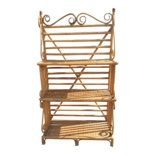 1970s Vintage 3 Tier Bent Cane Rattan Bakers Rack For Sale