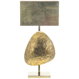 Large Belgian Willy Daro Table Lamp in Brass and Bronze, 1970s For Sale