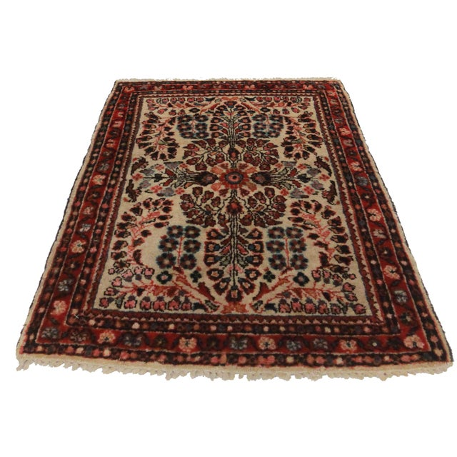 RugsinDallas Antique Hand-Knotted Wool Persian Sarouk Oriental Rug- 1′10″ × 2′4″ - Image 2 of 2