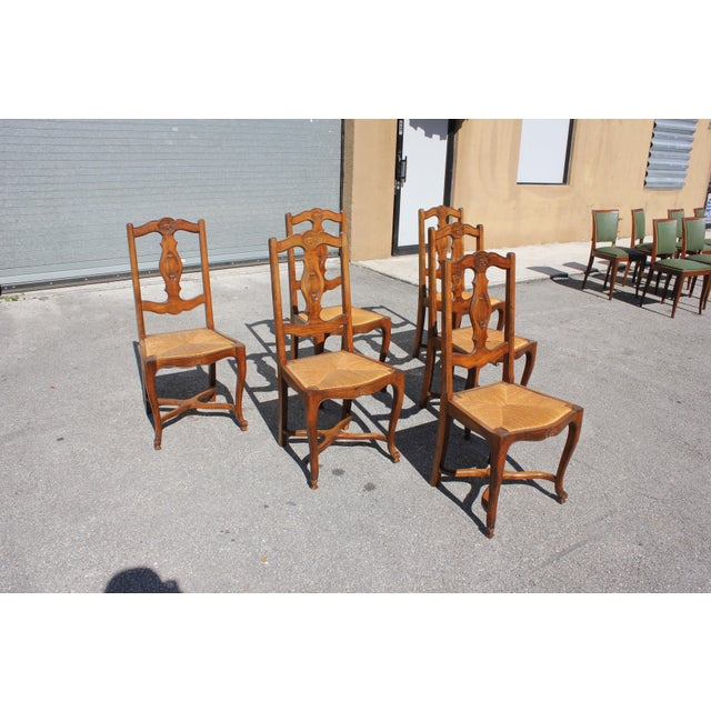Country Early 20th C. Vintage French Country Rush Seat Walnut Dining Chairs- Set of 6 For Sale - Image 3 of 13