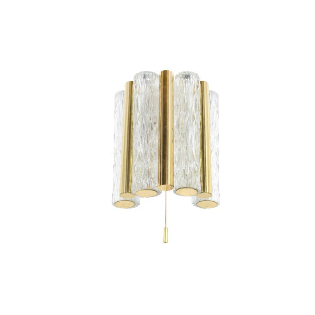 Hollywood Regency 1950s Germany Murano Glass and Brass Sconces by Doria Leuchten - a Pair For Sale - Image 3 of 8