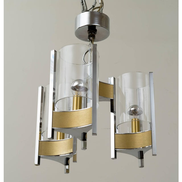 Gaetano Sciolari Sciolari Brushed Brass and Chrome Hurricane Glass Chandelier For Sale - Image 4 of 8