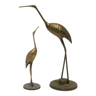 Vintage Brass Crane Bird Figurines - a Pair For Sale