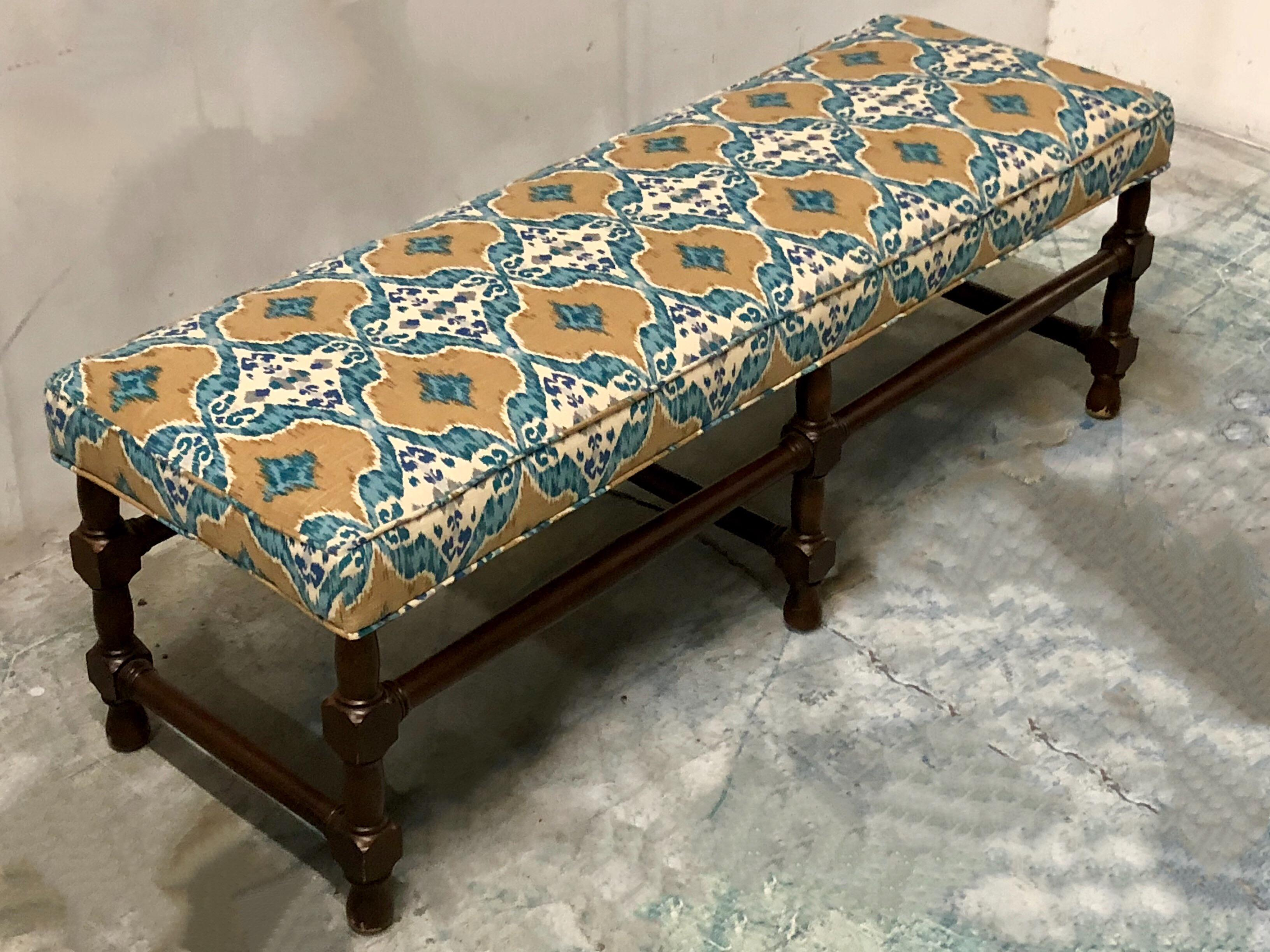Long Ottoman In Ikat Fabric For Sale   Image 4 Of 6