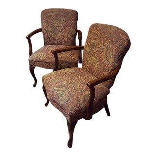 Victorian Parlor Chairs With Wood Framing and Paisley Upholstery - a Pair For Sale
