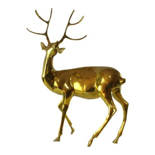 1970s Hollywood Regency Brass Posing Deer Statue For Sale
