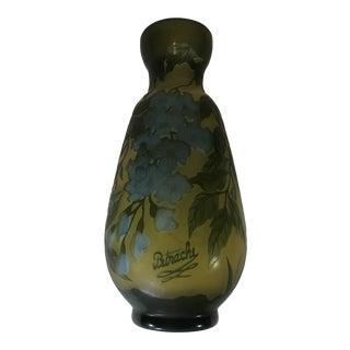 1980s Modern Acid Etched Green Glass Vase, Signed For Sale