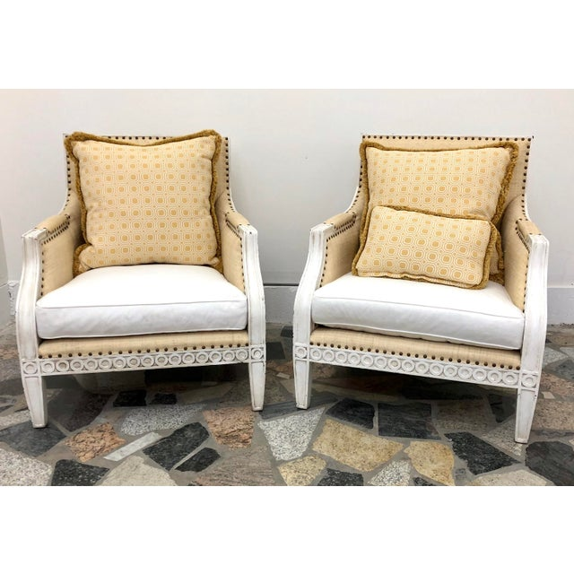 Oly Studio Tobias Upholstered in Raffia Chairs - a Pair For Sale - Image 9 of 9