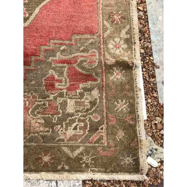 """1960s Hand Made Vintage Turkish Distressed Area Rug- 3'10""""x5'10"""" For Sale - Image 5 of 7"""