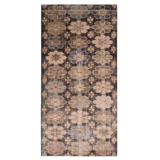 "1950s Vintage Mid-Century Geometric-Floral Wool Rug-4'9'x9'4"" For Sale"
